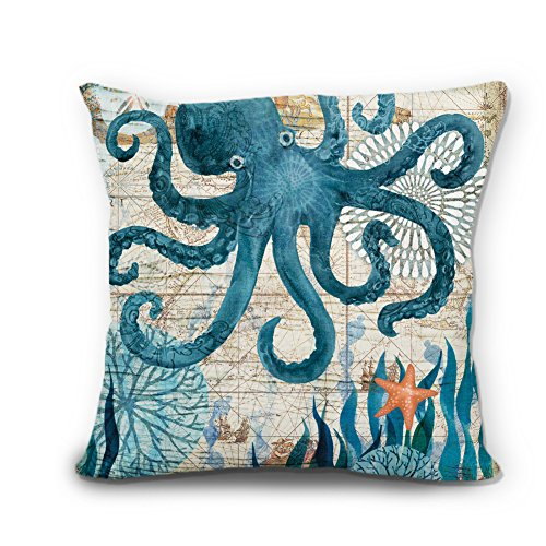 Cute Octopus Linen Pillow Cover