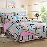 Ttmall Twin Full Queen Size 100%cotton 3-pieces Black White Gray Blue Brown Pink Suqare Geometric Printed Duvet Cover Set/bed Linens/bedclothes/bedding Sets/bed Sets/bed Covers/4-pieces Comforter Sets Bed in a Bag (Queen, 4pcs with Comforter)