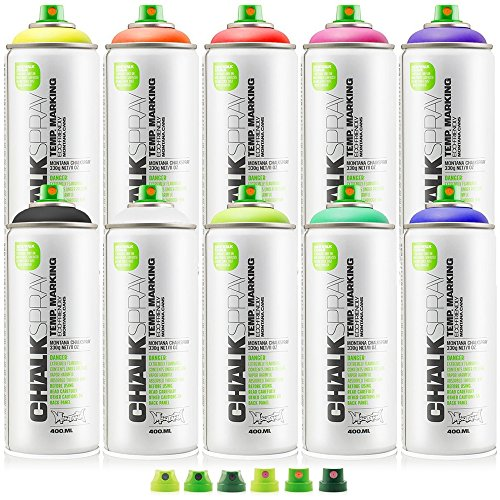 Montana Cans Chalk Spray Paint Temporary Marking Eco-Friendly - Kit with all 10 Colors - FREE Montana 6-Cap Set (Eco Friendly Spray Paint compare prices)