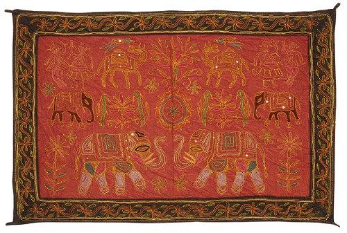 Imagen 2 de Wall Hanging algodón indio Tabla Tapestry Throw Adorna con bordados y lentejuelas Zari trabajo Tamaño 34 x 24 pulgadas