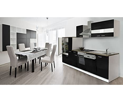 respekta Cocina vacíos de bloque 310cm Botiquín de color blanco negro frentes encimera de imitación nogal