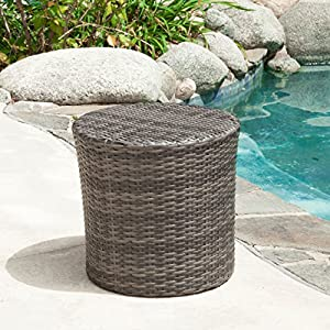 Overton Outdoor Grey Wicker Barrel Side Table from Great Deal Furniture