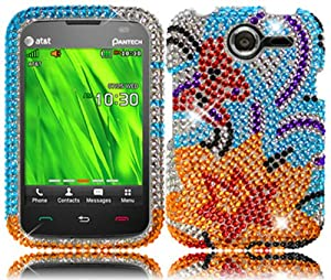 For Pantech Renue P6030 Full Diamond Bling Cover Case Yellow Lily