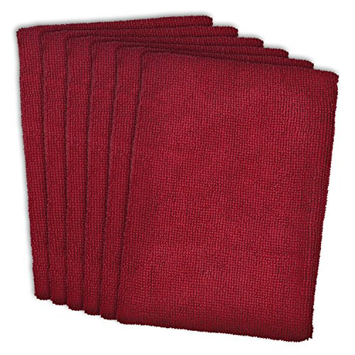 DII Kitchen Millennium Cleaning, Washing, Drying, Ultra Absorbent, Microfiber Dish Towel, Set of 6, Wine