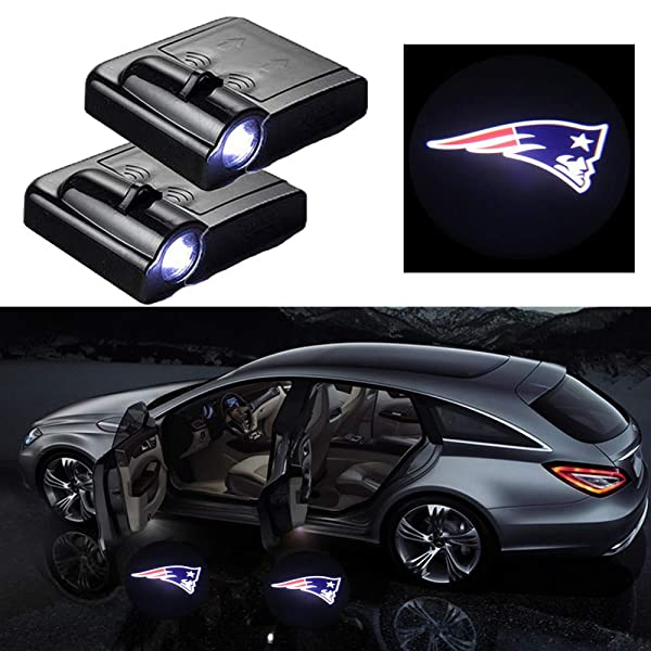 2 Pcs Wireless Car Door Led Welcome Laser Projector light for New England Patriots New England Patriots Car Door Courtesy Light Fit for All Brands of Cars