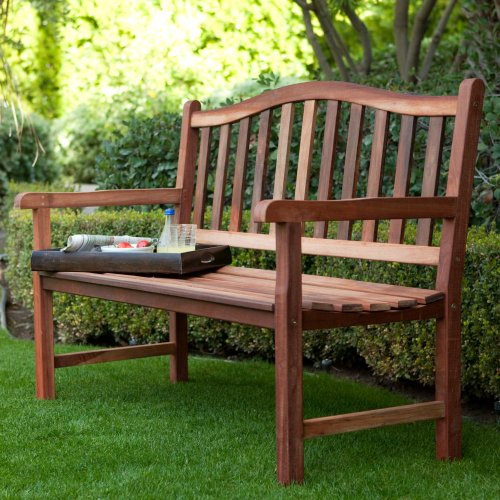 Coral Coast Coral Coast Richmond Curved Back 4-ft. Outdoor Wood Bench, Dark Wood, Wood, 51L x 26.4W x 35.4H in.
