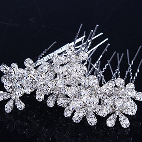 Stuffwholesale 20pcs Crystal Rhinestone Flower Hair Pins Wedding Bridal Bouquet Party Pearl Hair Clips (#3)
