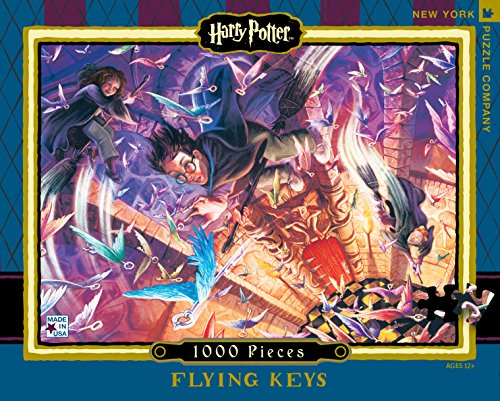 New York Puzzle Company - Harry Potter Flying Keys - 1000 Piece Jigsaw Puzzle (1000 Piece Puzzle Harry Potter compare prices)