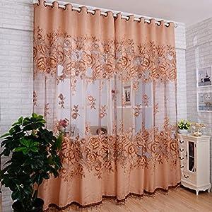 Binmer Tm Window Curtains Door Curtain Mordern Room Floral Tulle Window Screening