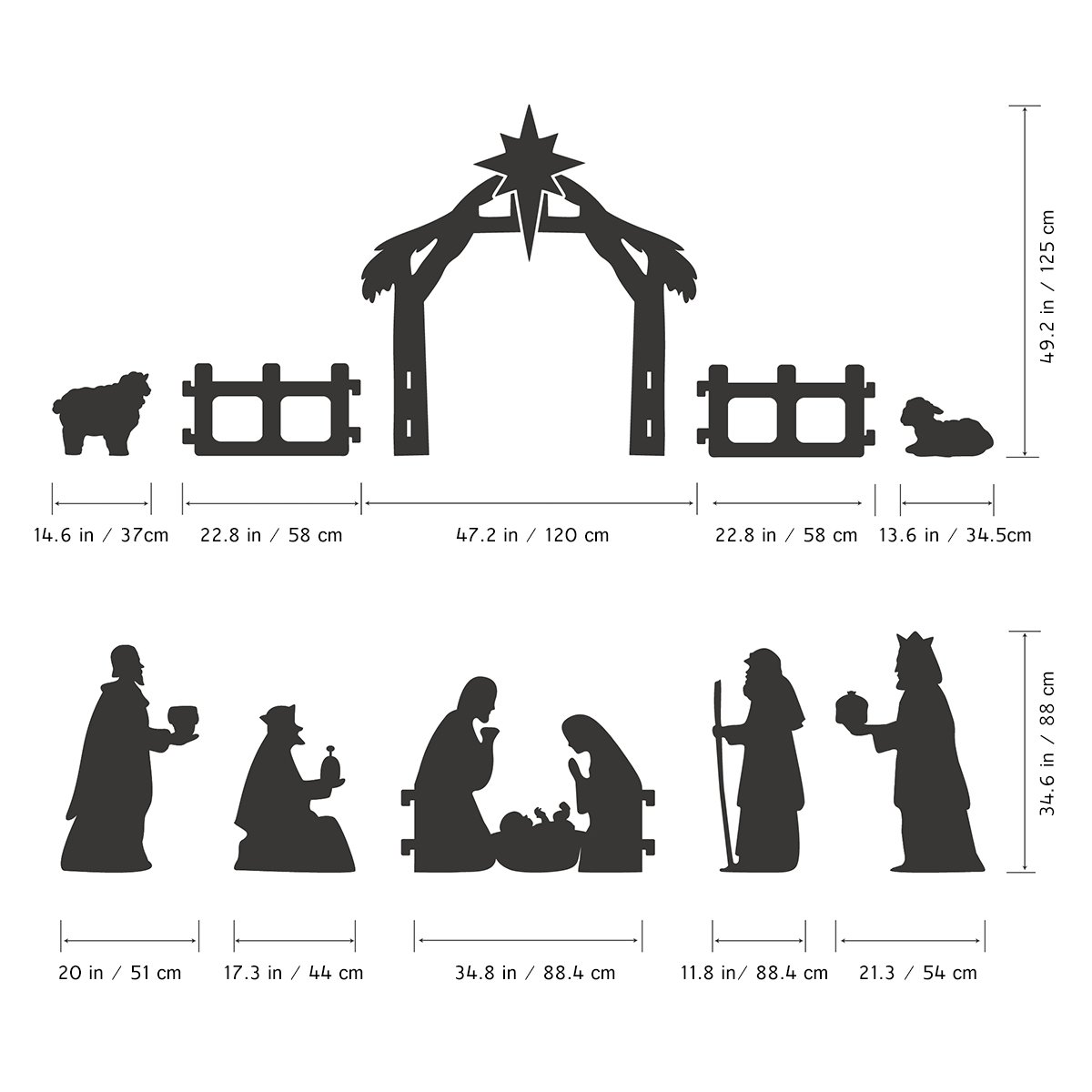 UNOMOR Outdoor Nativity Scene Christmas Decoration, Silhouette Style, About 4 Feet Tall