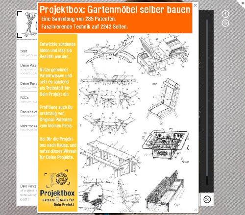 gartenm bel selber bauen deine projektbox inkl 2242 seiten original patente bringt dich mit. Black Bedroom Furniture Sets. Home Design Ideas