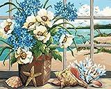 CosyDeal Interesting DIY Oil Digital ペイントing ペイントworks ペイント-By-Number キットs- Peaceful Seaside Window 16*20 インチ アートs クラフトs for キッド Children Family