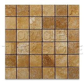 Gold / Yellow Travertine 2 X 2 Tumbled Mosaic Tile