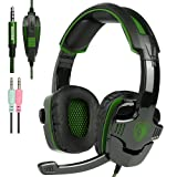 New Xbox one PS4 Gaming Headset with Mic Volume Control, SADES SA930 Stereo Headphone Compatible Mac PC Laptop Tablet Smartphone by AFUNTA-Black/Green (Color: Green)