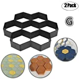 2 Pack Concrete Molds Path mold, Ponydash DIY Personalized Manual Patio Cement Stone Pavement Mould Reusable Stepping Mold Paver Walk Maker-Pattern for Paving Pavement Patio Walkway(Model G) (Color: Rose gold 3)