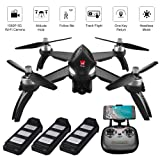 ElementDigital MJX Bugs 5W GPS Drone App Operation iOS Android 1080P 5G WiFi Camera Record Video 1-Key RTH Altitude Hold Track Flight Headless Brushless Motor, 3 Battery, Adjustable Camera Angle (Color: Mjx Bugs 5w)