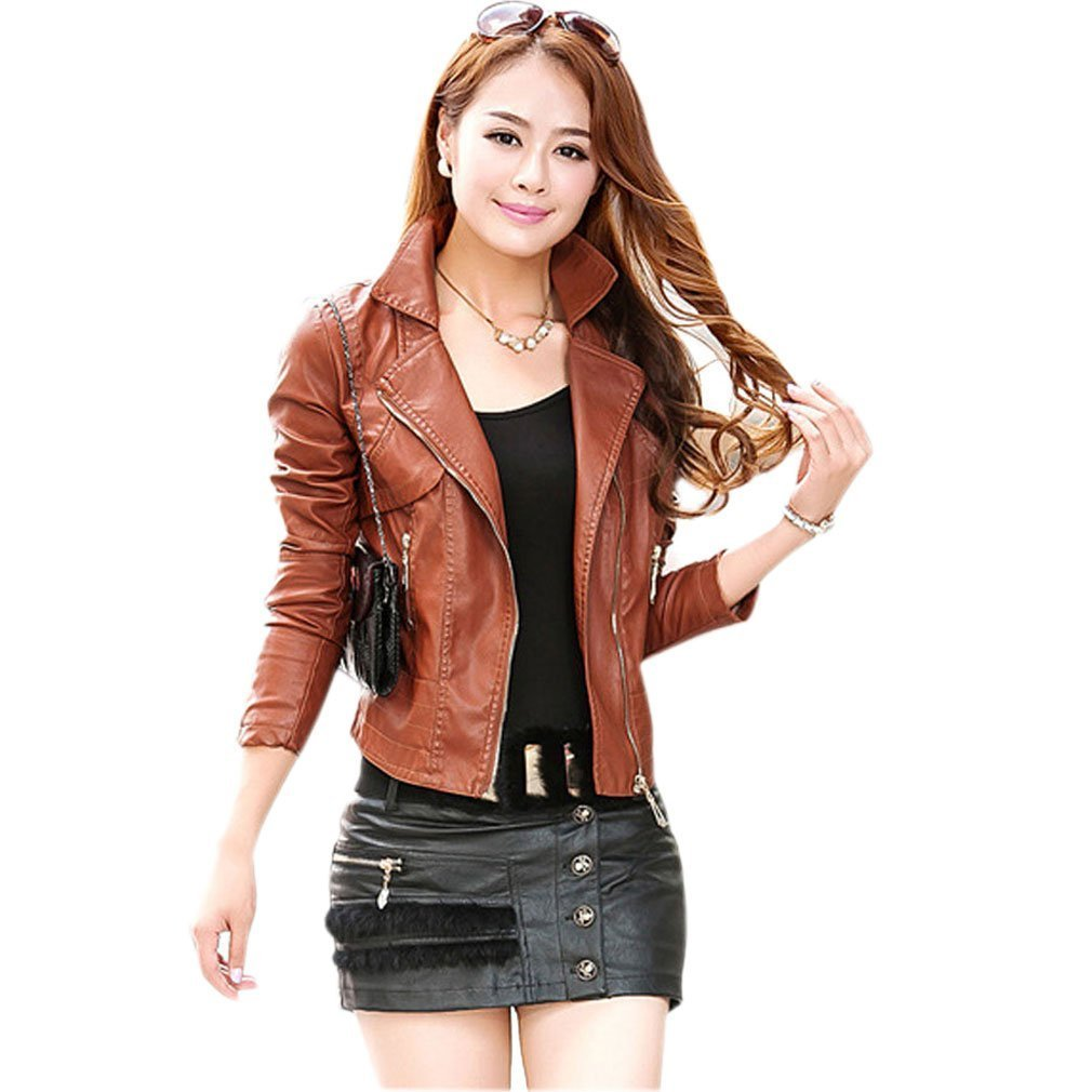 Najia Symbol Women's Black Brown Vintage Faux Leather Motorcycle Jacket Showomen-041 0