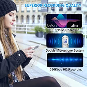 Voice Recorder, 16GB 1536Kbps Digital Voice Activated Recorder for Meetings,Lectures,Class - Stereo Audio Sound Recorder with 64GB TF Card Expansion, Noise Reduction, Password, USB Charge by Hfuear (Color: Sliver 1)