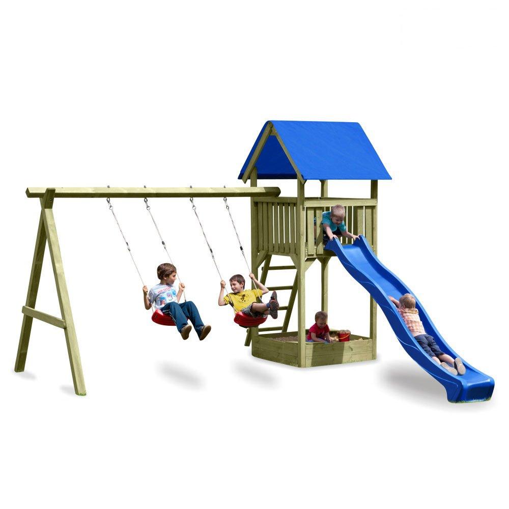 WICKEY Premium Spielturm M mit Schaukel, Sandkasten und blauer Rutsche günstig