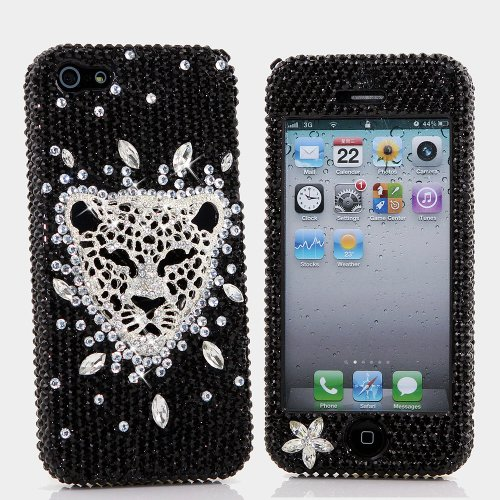 Great Price BlingAngels® 3D Luxury Bling iphone 5 5s Case Cover Faceplate Swarovski Crystals Diamond Sparkle bedazzled jeweled Design Front & Back Snap-on Hard Case + FREE Premium Quality Stylus and Water-Resistant Bag (100% Handcrafted by BlingAngels) (Silver Leopard Cheetah Head in Black Background)