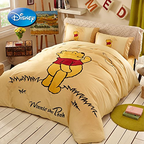 Sisbay Winnie the Pooh and Bee Cartoon Bedding for Kids,Boys Girls Twin Size Yellow Duvet Cover, Modern Fashion Print Fitted Sheet,3PC