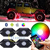 Wiipro RGB LED Rock Light Kits Cellphone APP Bluetooth Control with 4 pods Lights for JEEP Off Road Truck Car ATV SUV Vehicle Boat Interior with Timing & Music Mode