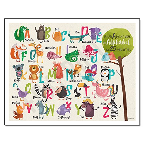 "Nursery Decor Wall Art - If plan A doesn't work, the alphabet has 25 more letters - Framed Poster 11x14"" - 1"