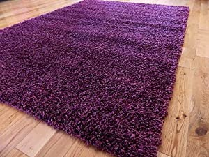 SMALL EXTRA LARGE RUG MODERN SOFT THICK SHAGGY RUGS NON SHED SHAG RUNNERS (Purple, 80 x 150 cm)