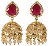 Violet & Purple Gold Alloy Jhumki Earrings for Women (1000030683)