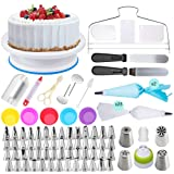 Cake Decorating Supplies - (107 PCS SPECIAL CAKE DECORATING KIT) With 55 PCS Numbered Icing Tips,4 Russian Piping Tips, Cake Rotating Turntable, BONUS Tips for Cake Caking Tools (Tamaño: 107 Piece Bundle)