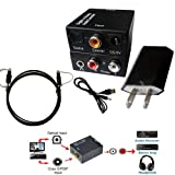 Easyday Digital Optical Optic to Analog RCA L/R Stereo Audio Converter Adapter - Changes Digital Coaxial or Optical SPDIF into Stereo 3.5mm Jack L/R RCA Audio Outputs Includes AC Power Cable (Color: Black)