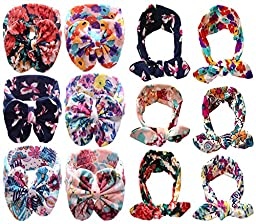 Qandsweet Baby Girl\'s Beautiful Headbands (12Pcs Hairband Flower Design)