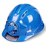 YAN JUNau Adjustable Helmet with Solar Fan, ANSI-Compliant, Personal Protective Equipment for Construction, Home Improvement and DIY Projects/PP (4 Colours) (Color : A: Blue)