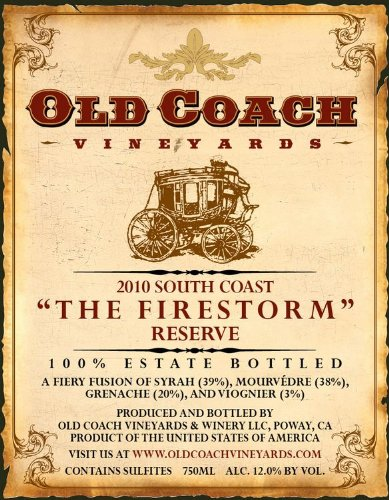 "2010 Old Coach Vineyards ""The Firestorm"" Reserve Rhône Style Red 750 Ml"