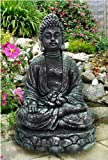Garden Ornament SITTING BUDDHA Handmade in Stone Effect