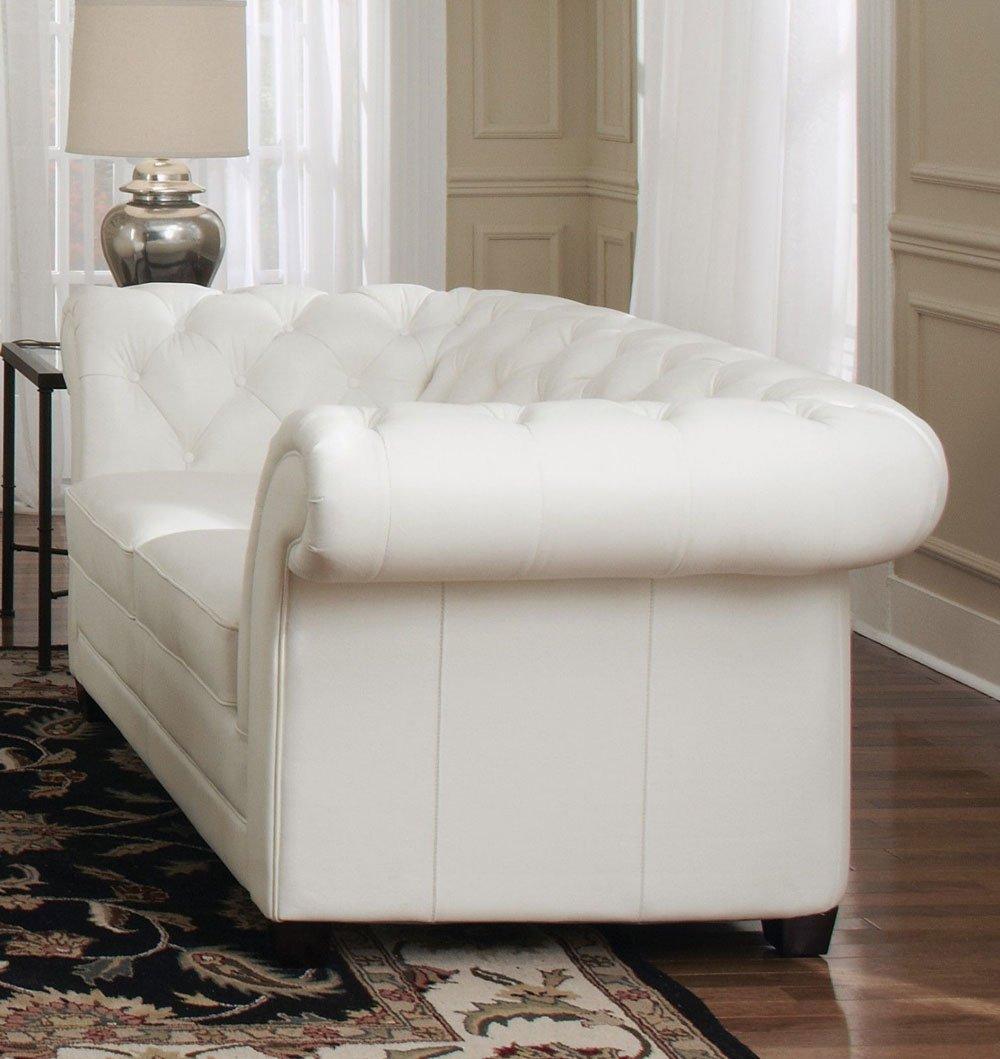 94 Quot L Tufted Sofa Top Grain White Leather Classic
