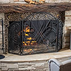 Rosalinda Black Silver Finish Floral Iron Fireplace Screen by Great Deal Furniture