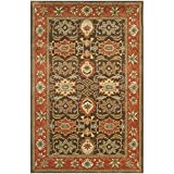 Safavieh Heritage Collection HG734B Handmade Area Rug, 6-Feet by 9-Feet, Chocolate and Tangerine