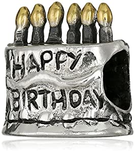CHARMED BEADS Sterling Silver Birthday Cake Bead Charm