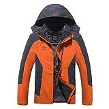 No.66 Town Men's Premium Waterproof Windproof Ski Hooded Thick Warm Polar Fleece Twinset Jacket Coat Size L Orange