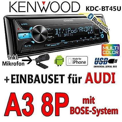 Audi a3 8P-kenwood kDC-bT45U-bluetooth cD/mP3/uSB avec kit de montage