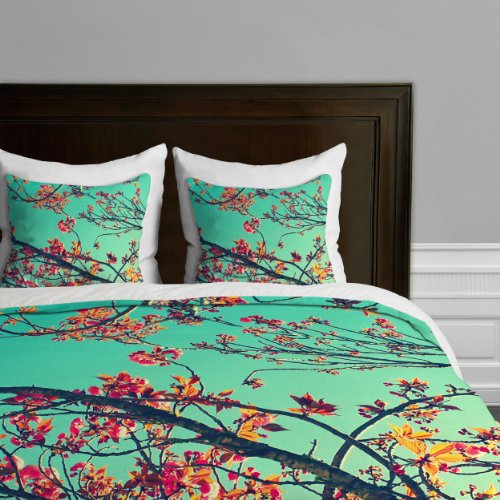 Deny Designs Shannon Clark Summer Bloom Duvet Cover, Queen back-942127