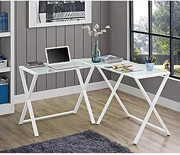 Glass and Metal X-Frame Corner Computer Desk