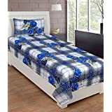 ZAIN BLUE WHITE GREY MULTI COLOUR FLORAL COTTON SINGLE BED SHEET WITH ONE PILLOW COVER