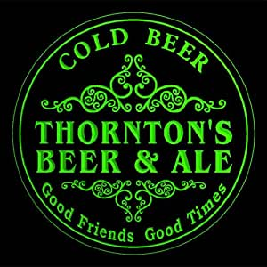 4x ccqs1354-g THORNTON'S Beer & Ale Cold Drink Bar Etched Engraved 3D Coasters