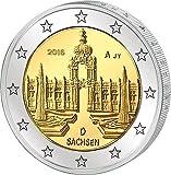"""1 Rollo de Monedas de 2 Euro """"Bundesländer - Sachsen"""" (25 piezas) Alemania (Jäger: 604) Flor de Cuño, ceca A - Berlin"""