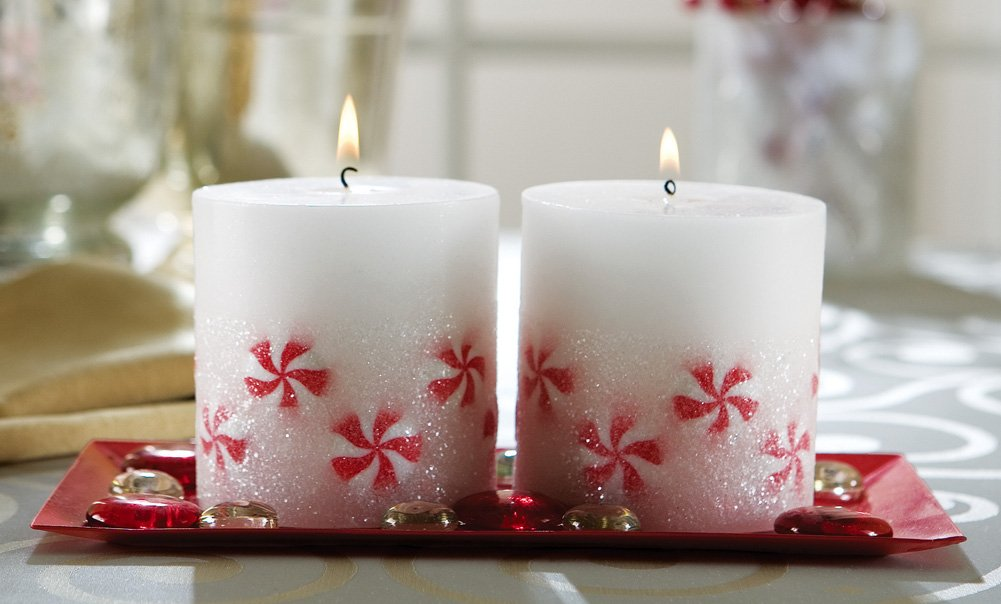 Peppermint Look Holiday Candles With Decorative Tray