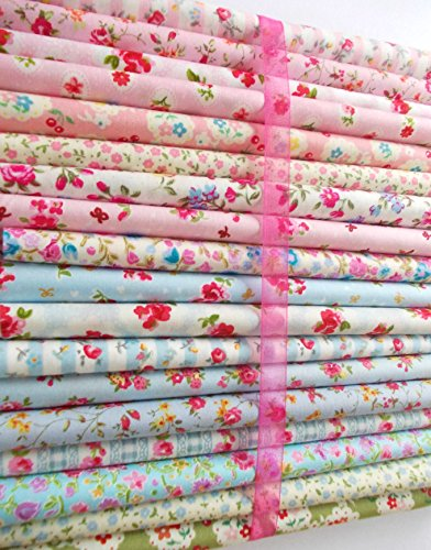 vintage-florals-fabric-bundle-18-shabby-chic-pieces-100-cotton-ditsy-floral-roses-pink-blue-for-craf