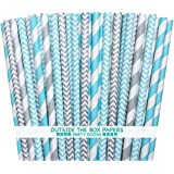 Outside the Box Papers Light Blue and Silver Stripe and Chevron Paper Straw Combo-Holiday Baby Shower Wedding Supply 7.75 Inches-Pack of 100, Str-0123light Blue, White, Silver