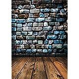 Qian Brick Wall Photography Backdrops Wooden Floor Digital Photo Background Vinyl 5x7ft qx032